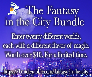 Image with name of Fantasy in the City Bundle and purple background