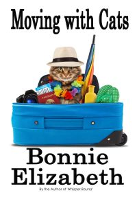 Book cover moving with cats, a funny cat in a packed suitcase on white background