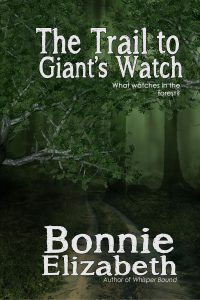 Book cover for Trail to Giant's Watch, a creepy green forest