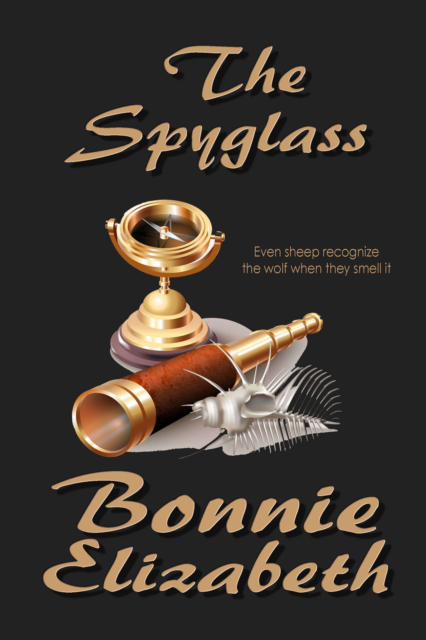 Book cover for short story the Spyglass, a spyglass, compass and shell on black background