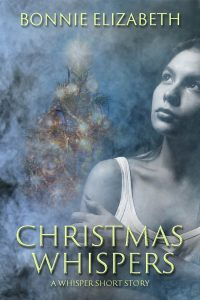 book cover for Christmas Whispers, a girl on smokey gray background and a Christmas tree