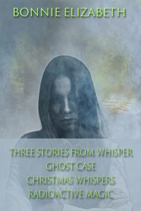 Bookcover for three Stories from Whisper, a girl on smokey gray background with a cave