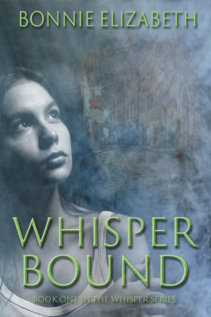 Bookcover for Whisper bound a girl on a smokey gray background with a city road behind