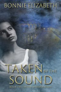 Bookcover for Taken by the Sound, a girl on smokey blue background with headlights on a bridge behind