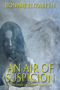 Bookcover for An Air of Suspicion. Girl on smoky gray background with dragon behind