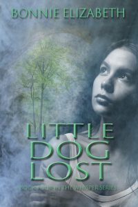 Book cover for Little Dog Lost. girl on smoky gray background with a tree and cave opening behind