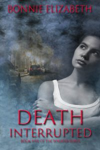 Bookcover for Death Interrupted. Girl on smoky gray background with the taillights of a car on a street behind