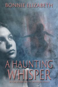 Book cover for A haunting Whisper. Girl on smoky gray background with pink dancing silhouette behind.