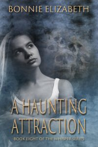 Bookcover for a Haunting Attraction a girl on a smokey gray background with skulls