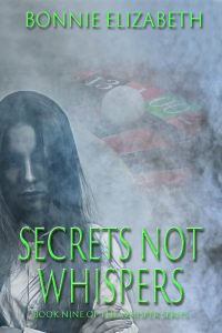 Book cover for Secrets Not Whispers. Girl on smoky gray background with roulette wheel behind