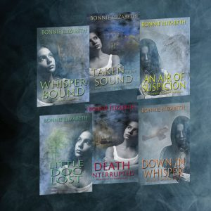 A collage of Bookcovers for Whisper Bound series, all on a gray background