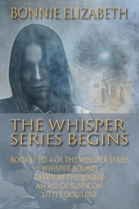 Book Cover for Whisper Series Begins, a girl on smoky gray background with a house behind her