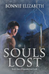 Book cover, Souls Lost. A man looking at the reader, a house being hit by lightning behind