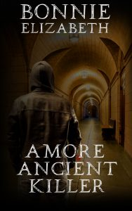 A man walking down a creepy hallway, book cover for A More Ancient Killer