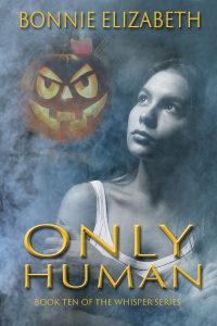 Only Human book cover. A girl on smoky gray background with pumpkin behind
