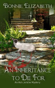 Book cover An Inheritance to Die For, a garden scene with Siamese cat on green background