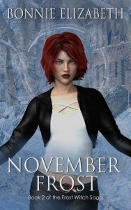 Book cover for November Frost. Girl in front of frosty building