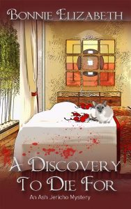 A Discovery to Die for book cover. A Siamese cat on a massage table in Chinese looking room on red background