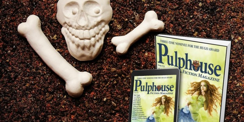 a funny little image of a skull and bones and the cover of Pulphouse