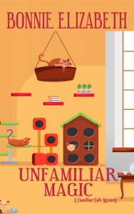 Book cover: cats in a cat cafe, peach, orange and white colors