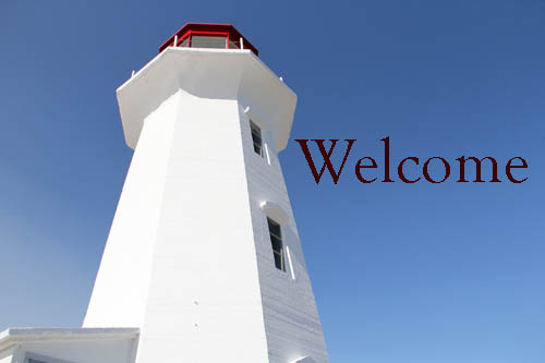 lighthouse on blue background with the word Welcome in the sky